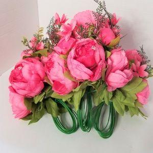 Faux Flowers Peony Silk Flower Bouquet Pink
